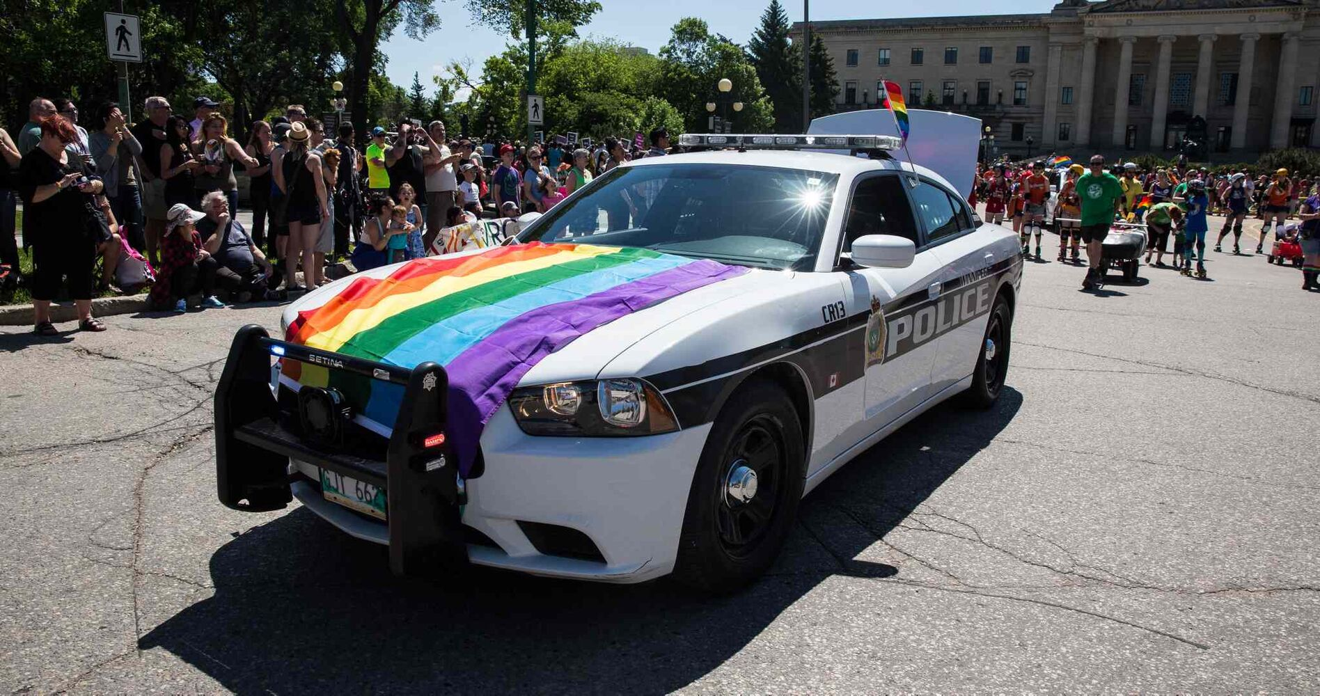 The Winnipeg Police Service got decked out for the Winnipeg Pride Parade Sunday.  (Mike Deal / Winnipeg Free Press)