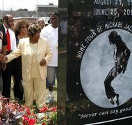FILE - In this June 25, 2010 file photo, Katherine Jackson, left, in yellow, attends the unveiling a monument to her son, singer Michael Jackson, in Gary, Ind. Gary school officials approved a memorandum of understanding Tuesday, July 23, 2014, with Katherine Jackson to name a school after Michael Jackson in the late pop star's Indiana hometown. The agreement says the district wants to inspire children to excel in the arts and education. They are working with the Jackson family on which school to rename. (AP Photo/John Smierciak, File)