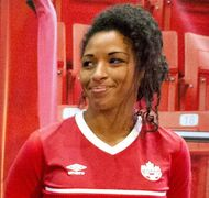 Canada's Desiree Scott  has considerable international experience, including a bronze medal at the 2012 London Olympics, and this match, a friendly against Korea in Cyprus in 2014.