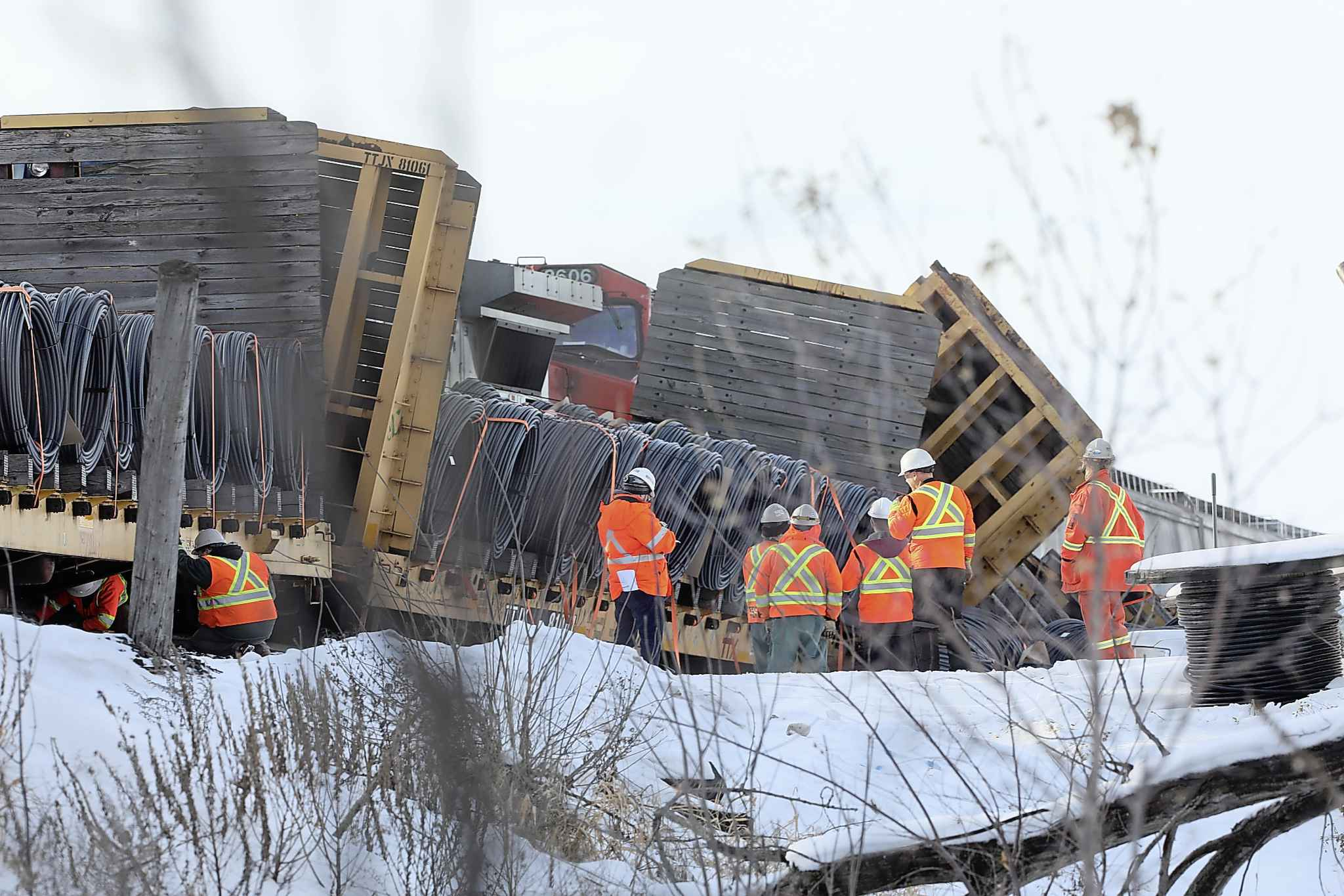 One of two trains that derailed near Portage la Prairie last Thursday was transporting hazardous goods. (Winnipeg Free Press files)