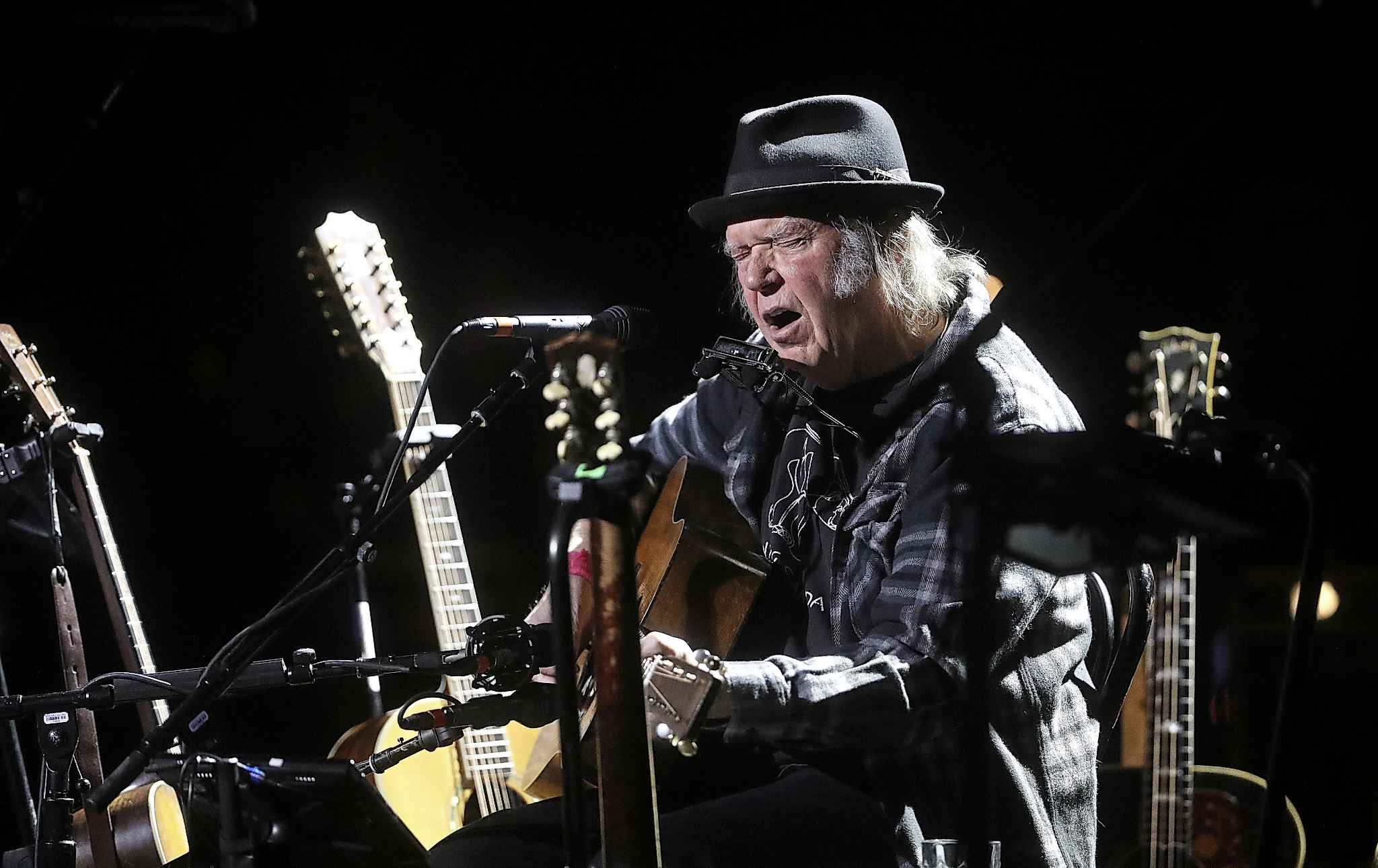 Neil Young performed at the Burton Cummings Theatre on Sunday.