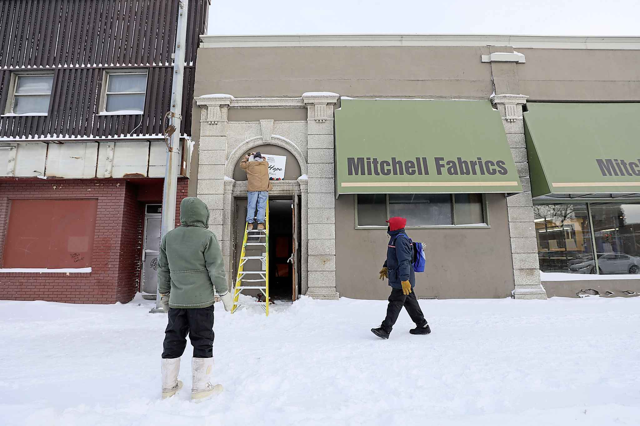 The drop-in warming centre is located in the former Mitchell Fabrics building on Main Street.