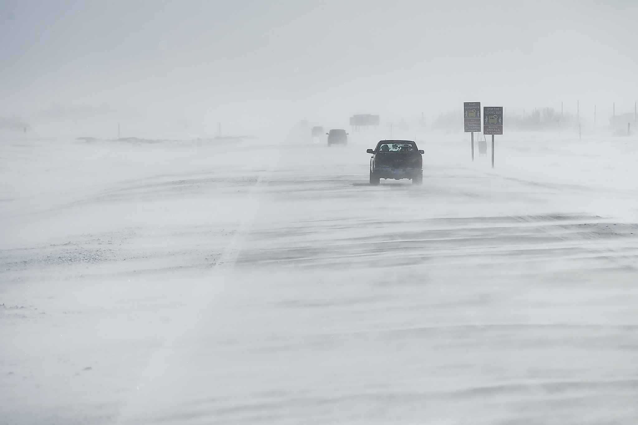 Snow billows across the highway as Hamelin drives from Steinbach to Neepawa.