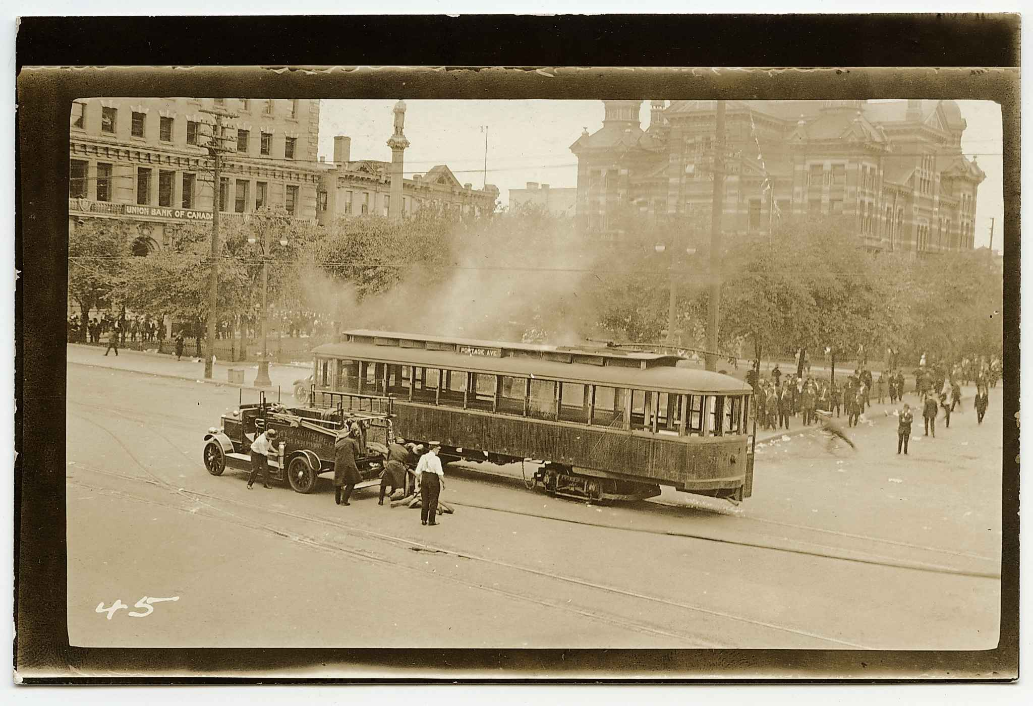 The charred remains of the iconic streetcar that was set on fire on June 21, 1919.