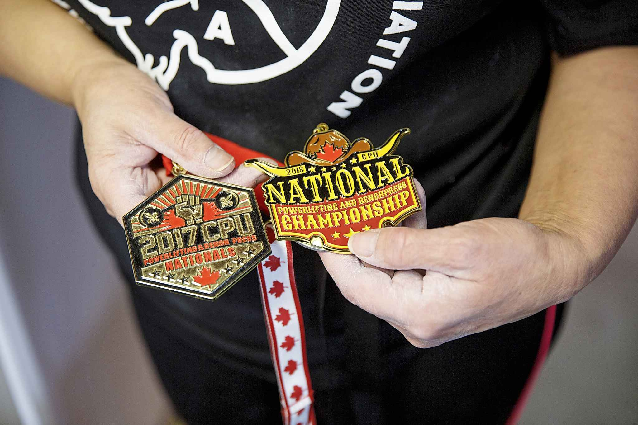MIKE DEAL / WINNIPEG FREE PRESS</p><p>Haywood proudly shows off a couple of her Nationals medals.</p>
