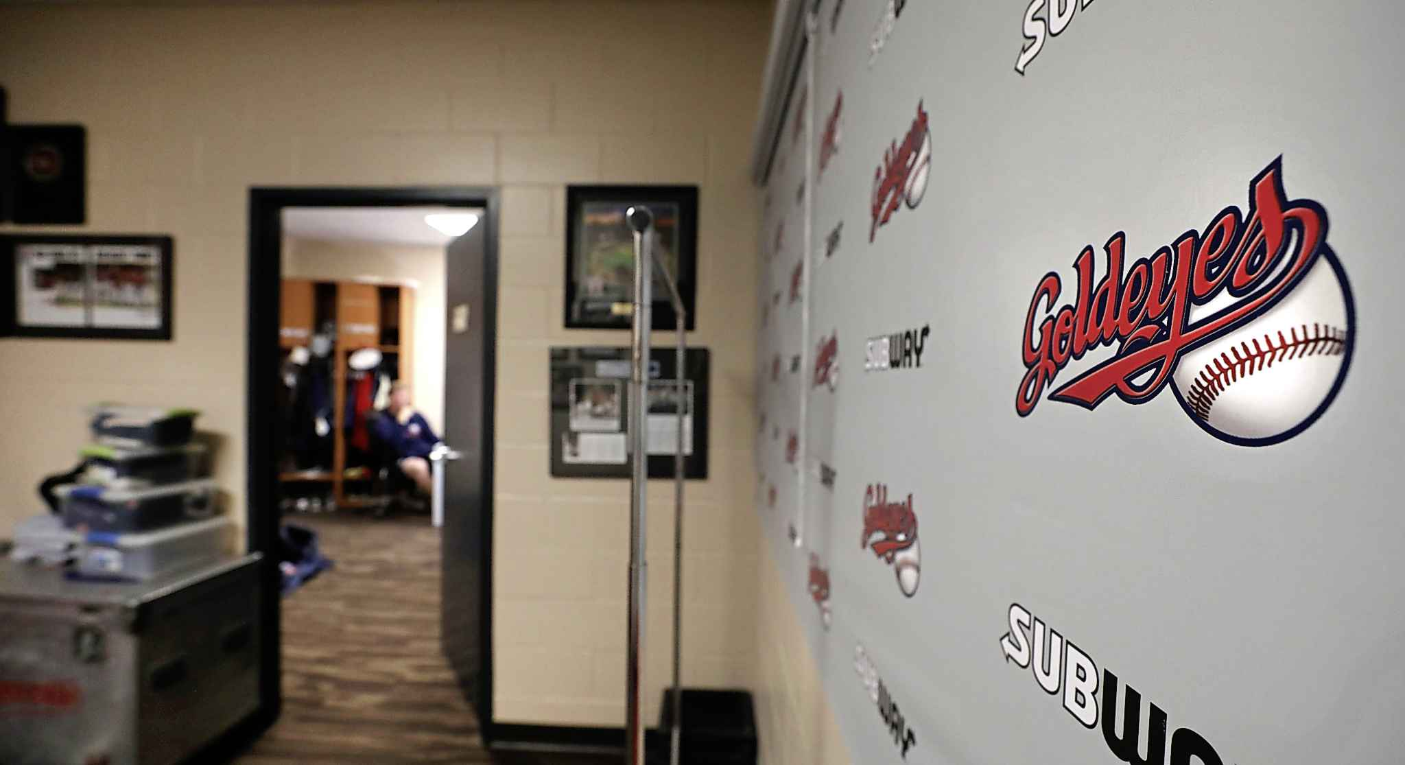 The calm before the storm: Forney's office was busy this week as the team's 27 players began filing in ahead of Saturday's start of spring training, poking their heads in for a quick handshake and hello with the boss. (Ruth Bonneville / Winnipeg Free Press)
