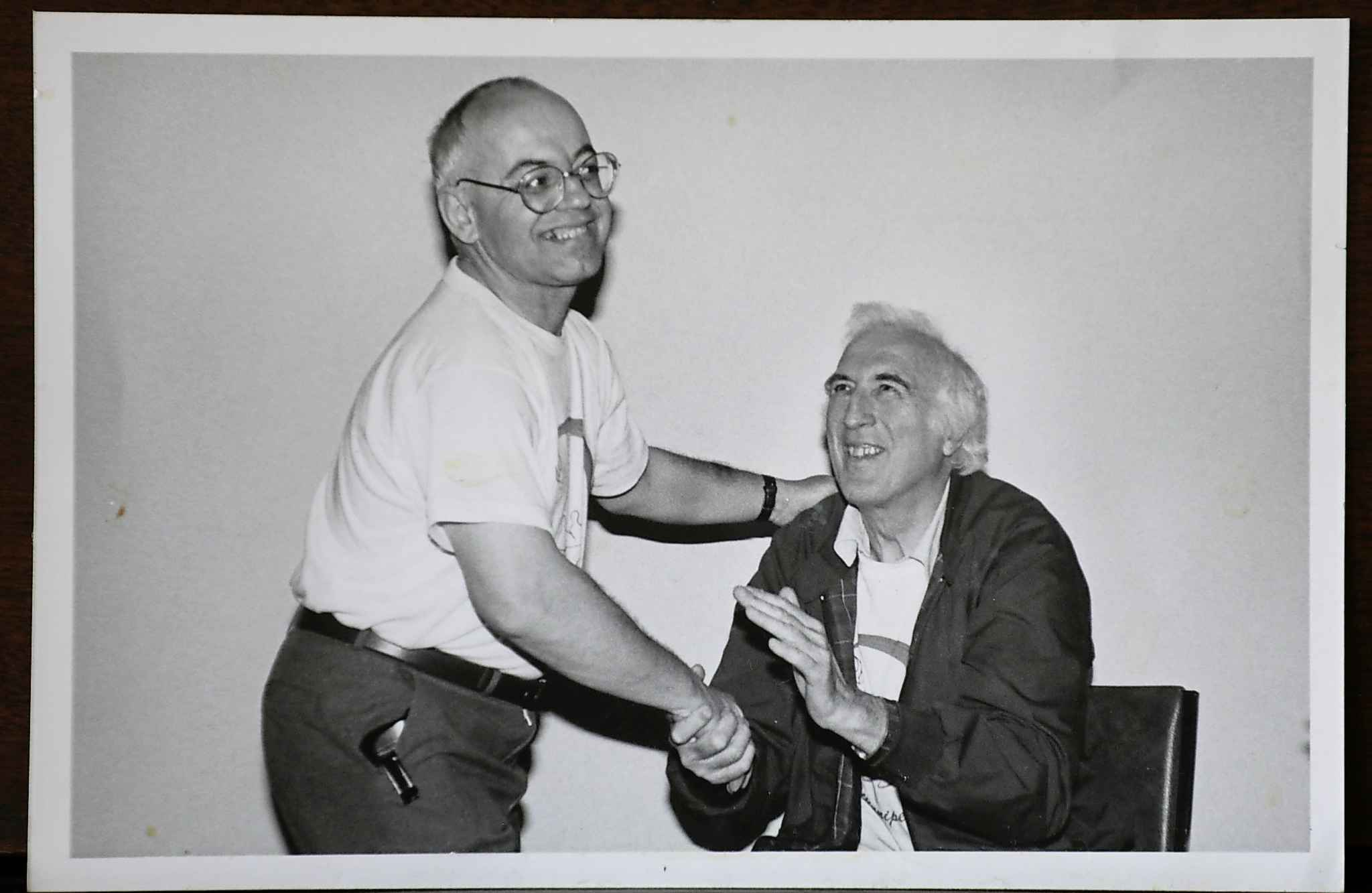 A photo of Albert with Jean Vanier at a retreat in 1998.