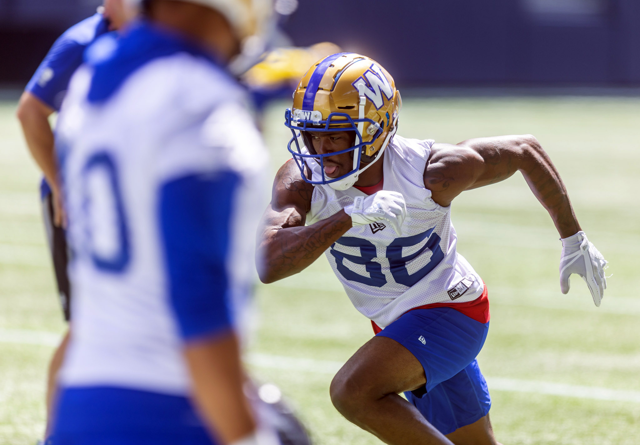 Kenneth Walker III takes part in drills during a practice at IG Field on Tuesday. (Sasha Sefter / Winnipeg Free Press)