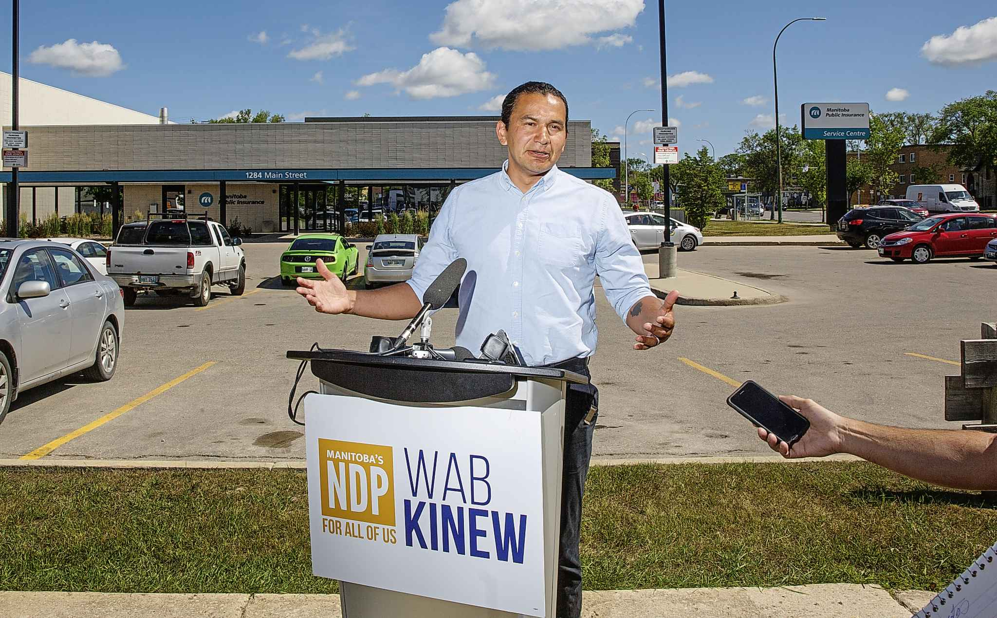 """Wab Kinew, Leader of the Manitoba NDP reveals that the party has discovered through FIPPA information requests that the Conservative government has put together a scenario where MPI """"no longer exists.""""  190705 - Friday, July 05, 2019."""