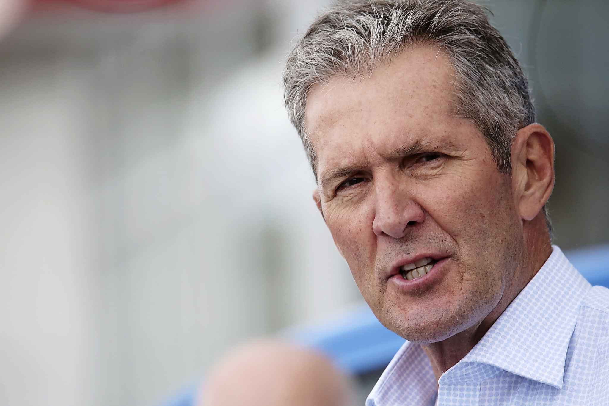 PC leader Brian Pallister speaks in Brandon on Tuesday. (Matt Goerzen/The Brandon Sun)