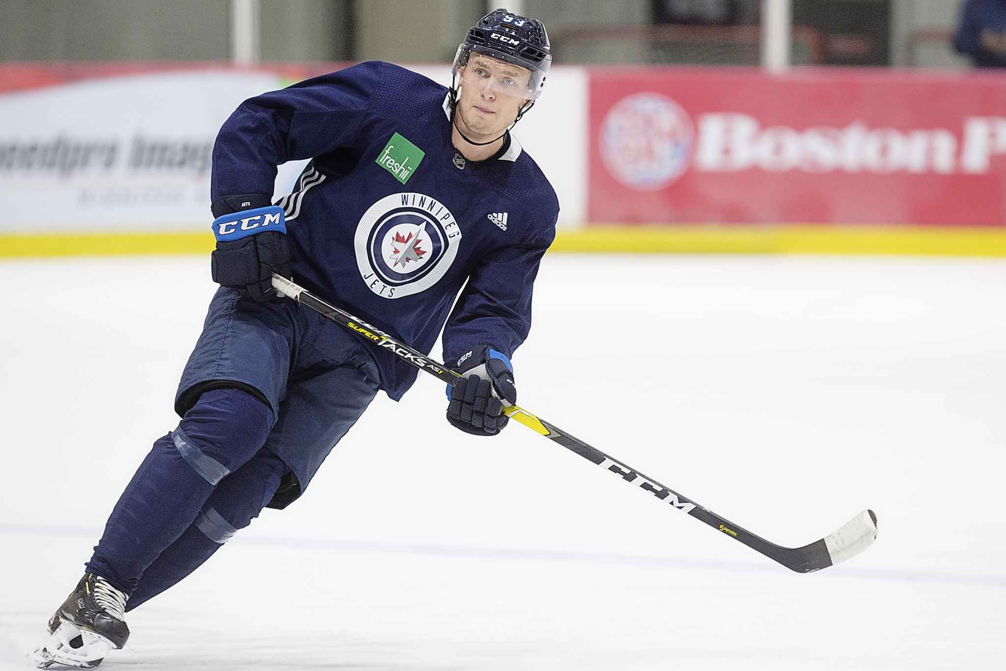 "MIKE DEAL / WINNIPEG FREE PRESS</p><p>Kristian Vesalainen during the Jets rookie camp at Bell MTS Iceplex Thursday morning. ""Great to be back. I'm excited to start a new season,"" he said.</p>"