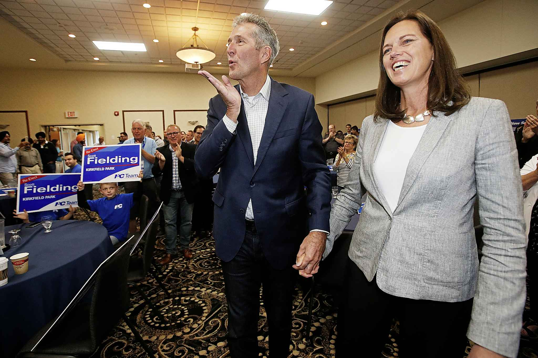 Progressive Conservative Party of Manitoba Leader Brian Pallister with his wife Esther.