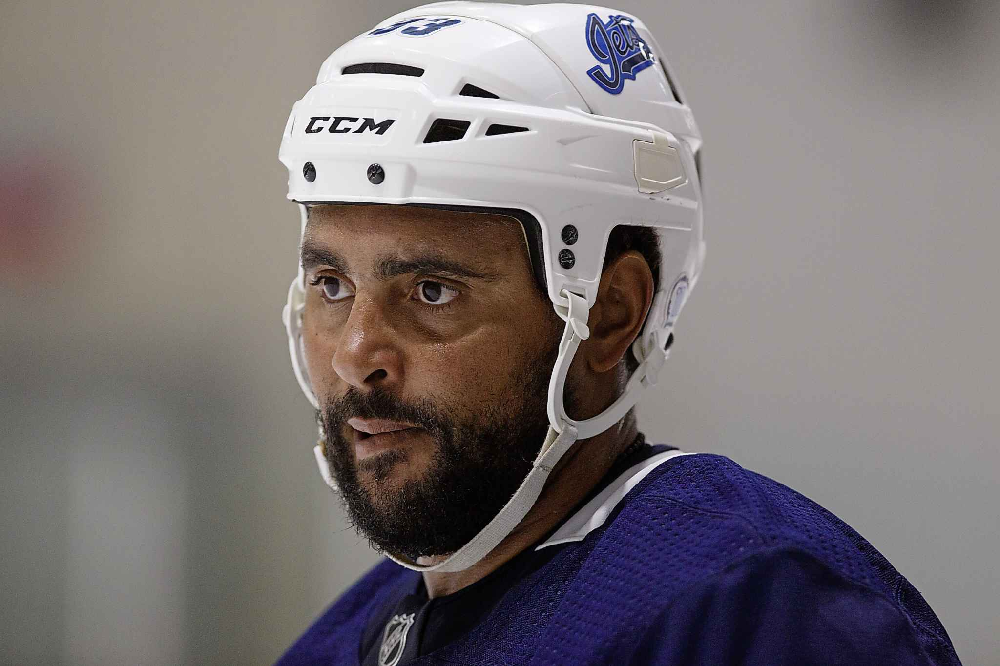 MIKE DEAL / WINNIPEG FREE PRESS <p/> Winnipeg Jets' Dustin Byfuglien returns to a much-depleted blue line.