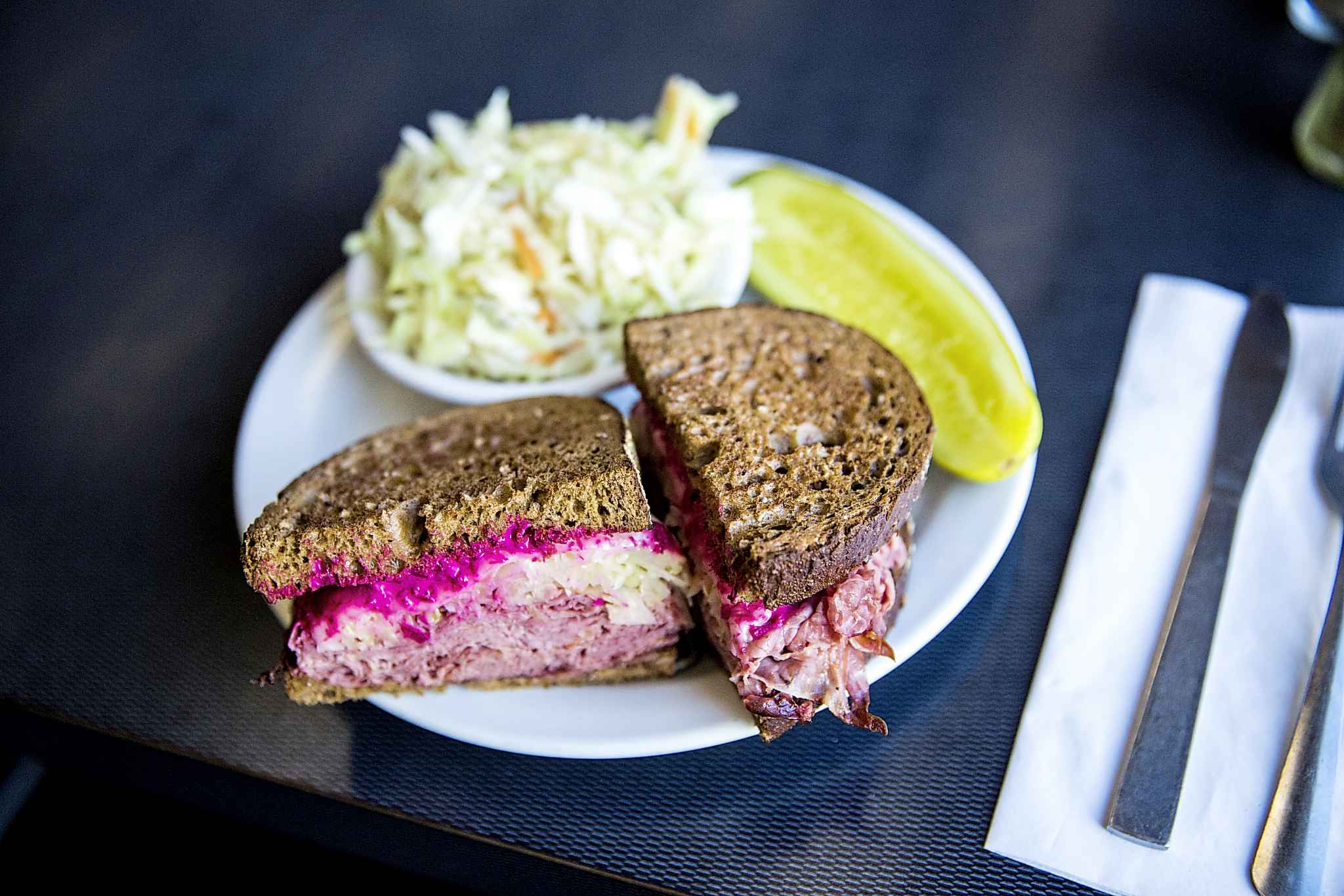 The Rubin sandwich at Oscar's Deli uses a variation on the classic sandwich's spelling and also departs slightly from the standard ingredients. (Mikaela MacKenzie / Winnipeg Free Press)
