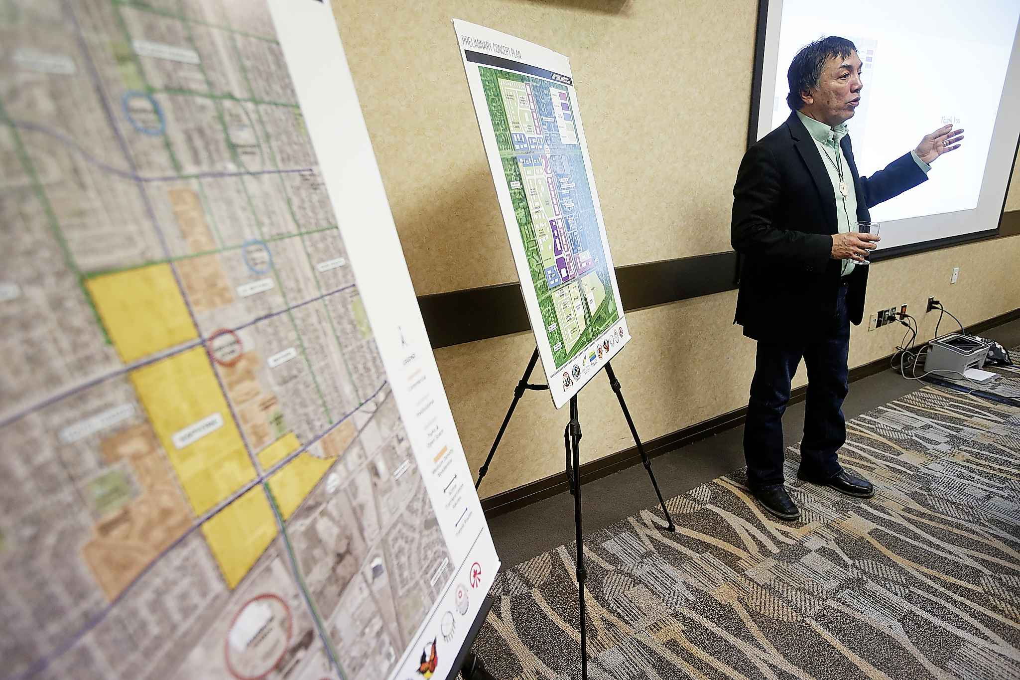 Long Plain Chief Dennis Meeches outlines grand plans for the former Kapyong Barracks site. (John Woods / Winnipeg Free Press)