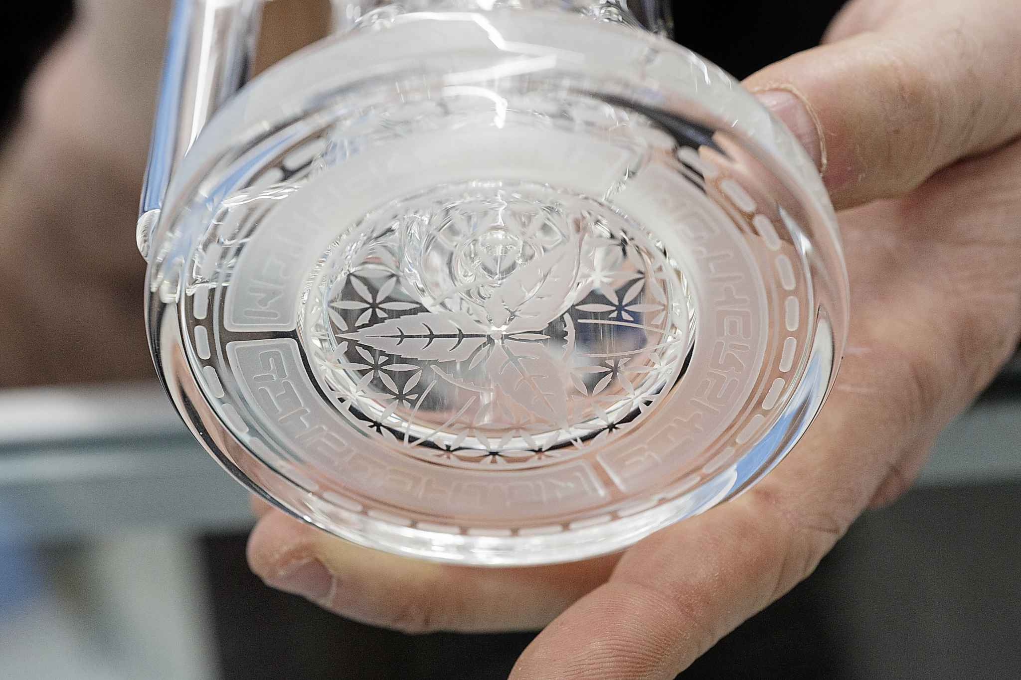 Each Mothership Glass bong is hand-crafted and features various design details, making them collectors items. (Mike Deal / Winnipeg Free Press)