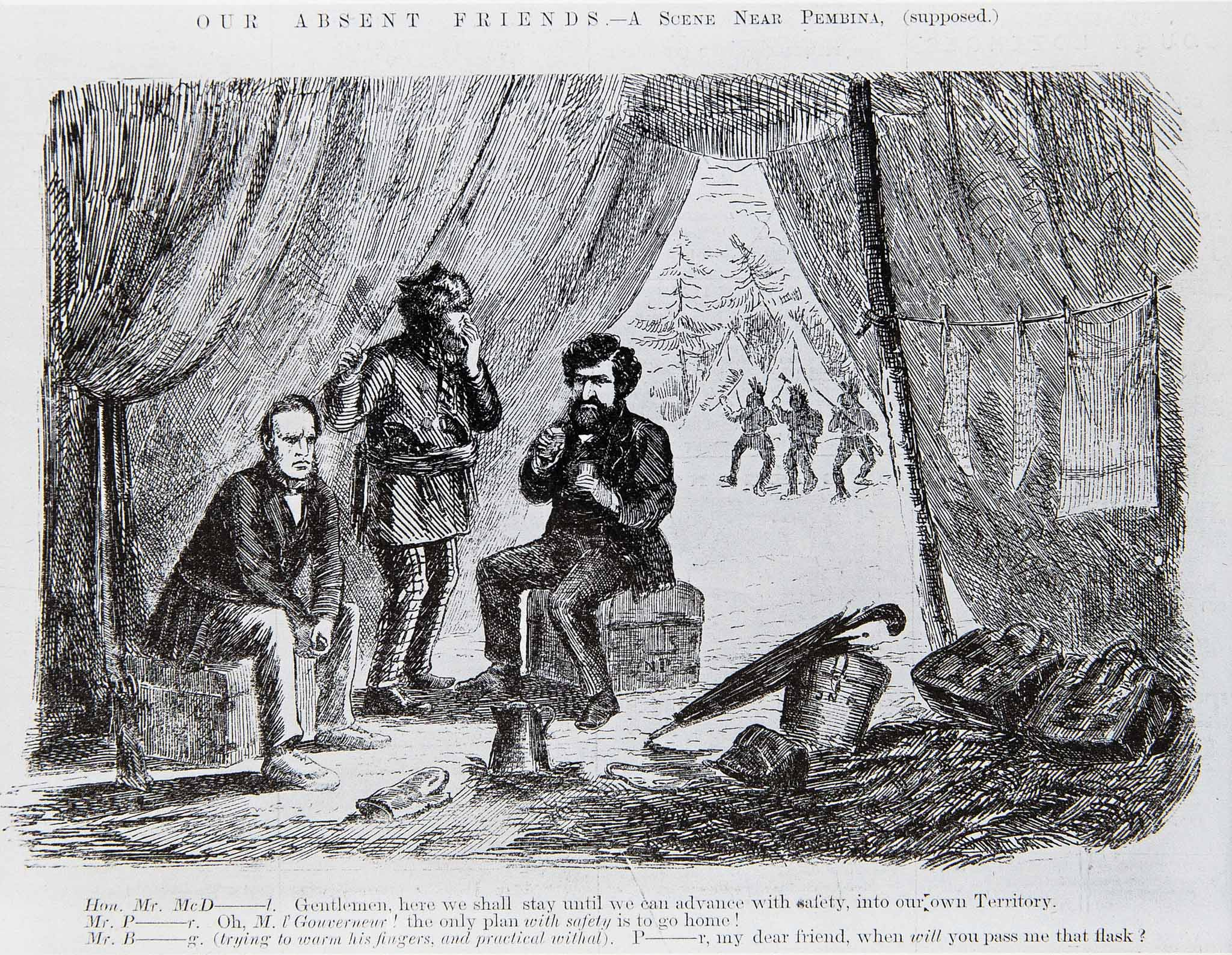1870 political cartoon of William McDougall at Pembina. (Archives of Manitoba)