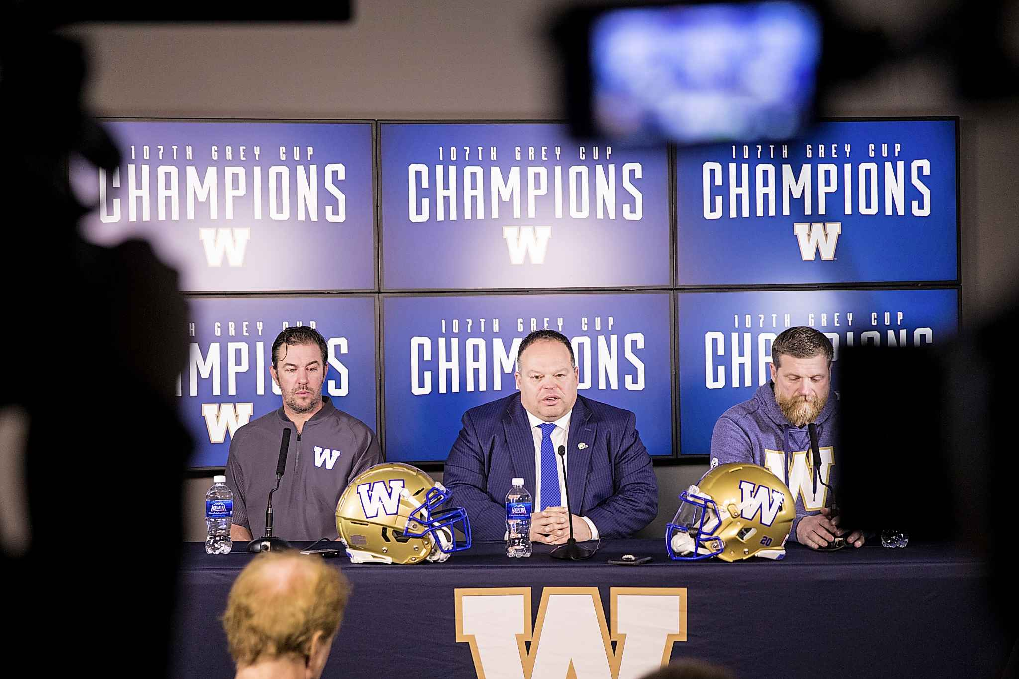 Winnipeg Blue Bombers GM Kyle Walters (left) says that it will be a while before the team has an idea as to what the future holds for Jefferson and Streveler. (Mikaela MacKenzie / Free Press files)