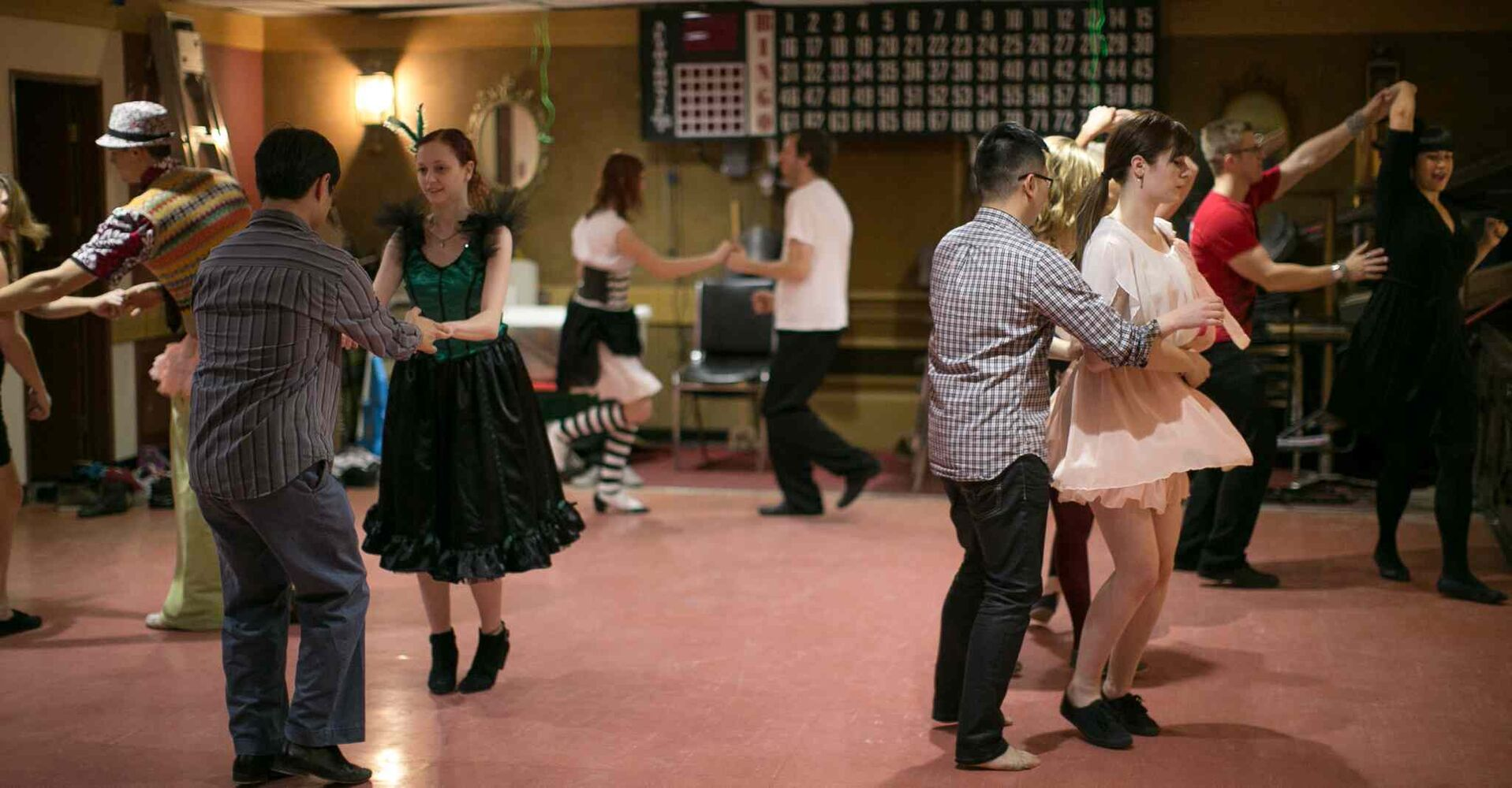 Young dancers cut a rug in the basement of the Winnipeg South Osborne Branch 252 Legion. (Melissa Tait / Winnipeg Free Press)