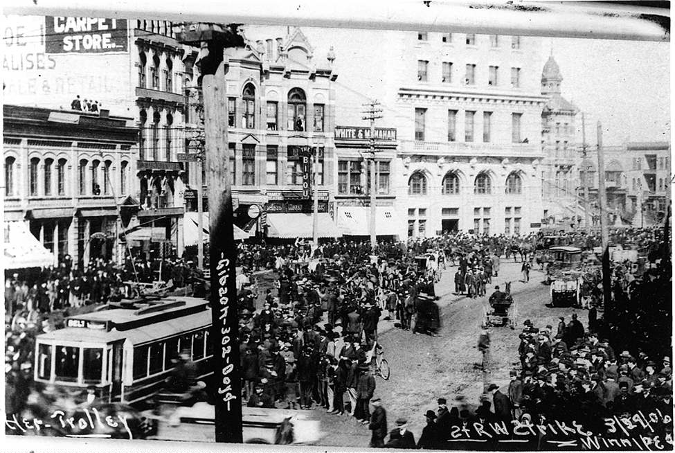 Winnipeg Free Press Archives 1919 strike Main Street outside The Bijou Theatre with City Hall off to the right.