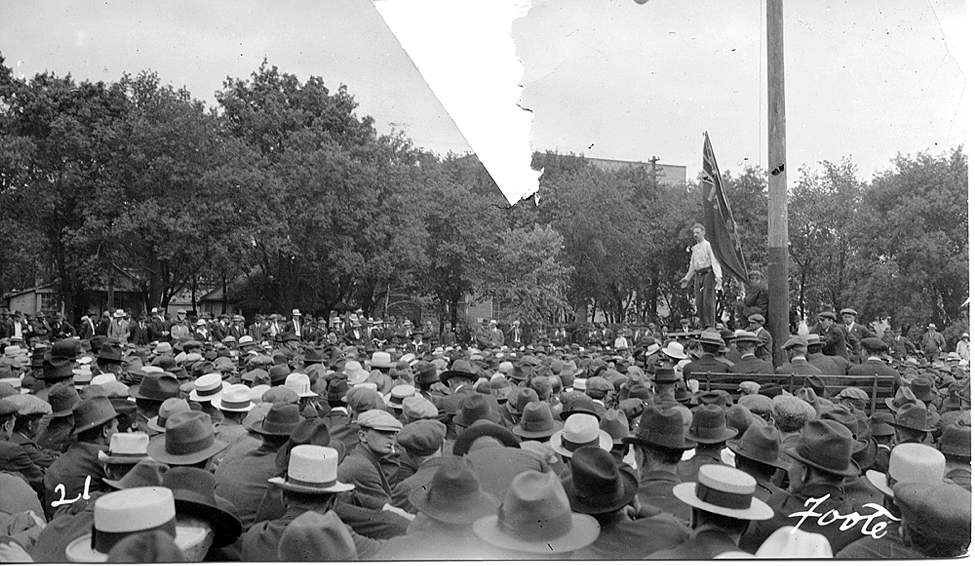 L. B. Foote / Winnipeg Free Press Archives 1919 Strike Strike Leader Roger Bray speaks to the gathered crowd in Victoria Park.