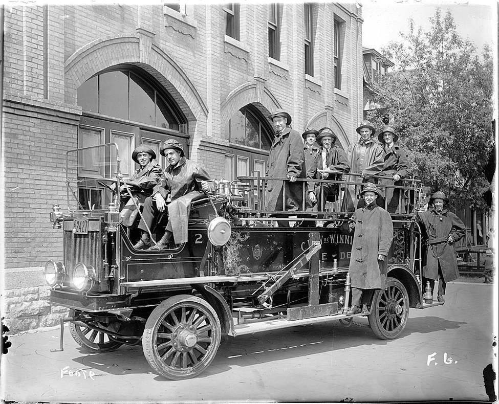 L. B. Foote / Winnipeg Free Press Archives 1919 Strike Scene at Westminster and Lipton Station during 1919 Winnipeg General Strike. Strikebreakers for the Committee of 1,000 took over the fire department when the firefighters joined the strike.