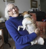 'He makes me get out and exercise and we play a lot,' Kathleen Brown says of her new best friend Nigel.