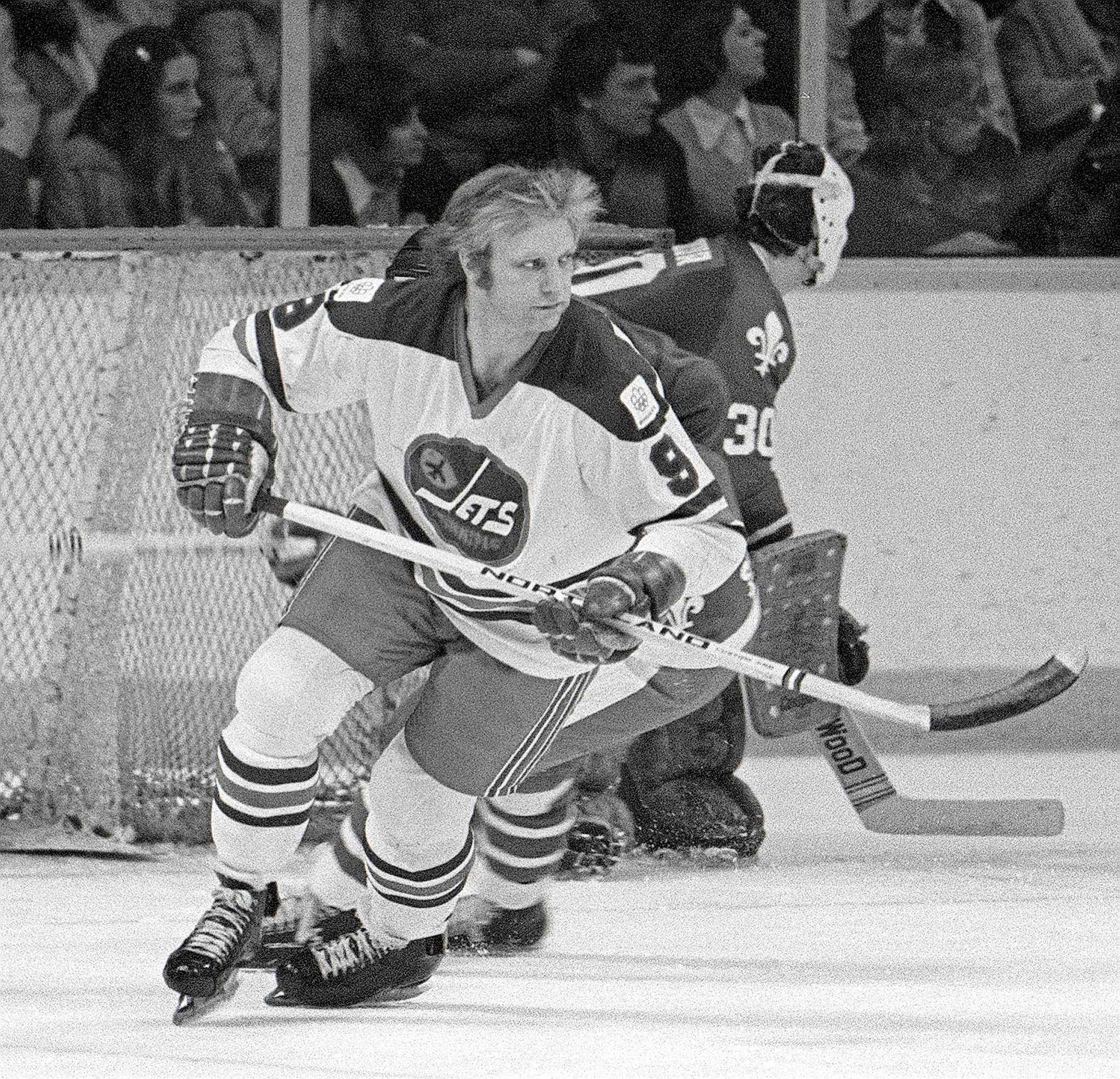 March 3, 1976. Bobby Hull in a game against the Quebec Nordiques. Injuries would limit Hull to just 34 regular-season games that year.