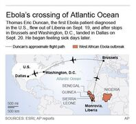 Map shows Ebola victim flight across Atlantic; 2c x 3 inches; 96.3 mm x 76 mm;