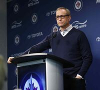 Coach Paul Maurice reviews the season at the MTS Centre this afternoon.