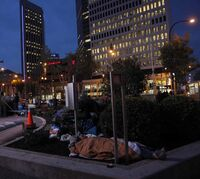 Over 160 CEOs and community leaders joined by about 50 homelesspeople  through out the night  took part in the 4th Annual CEO Sleepout at Portage Avenue and Main Street in September 2014.