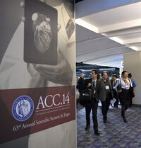FILE- In this March 29, 2014 file photo, people attend the American College of Cardiology's Annual Scientific Session and Expo in Washington. A new study published online Monday, Dec. 22, 2014, in JAMA Internal Medicine, suggests survival chances were better for cardiac arrest patients and for the sickest heart failure patients if they were treated at teaching hospitals during the two biggest national cardiology meetings. But the study isn't conclusive. (AP Photo/Susan Walsh, File)