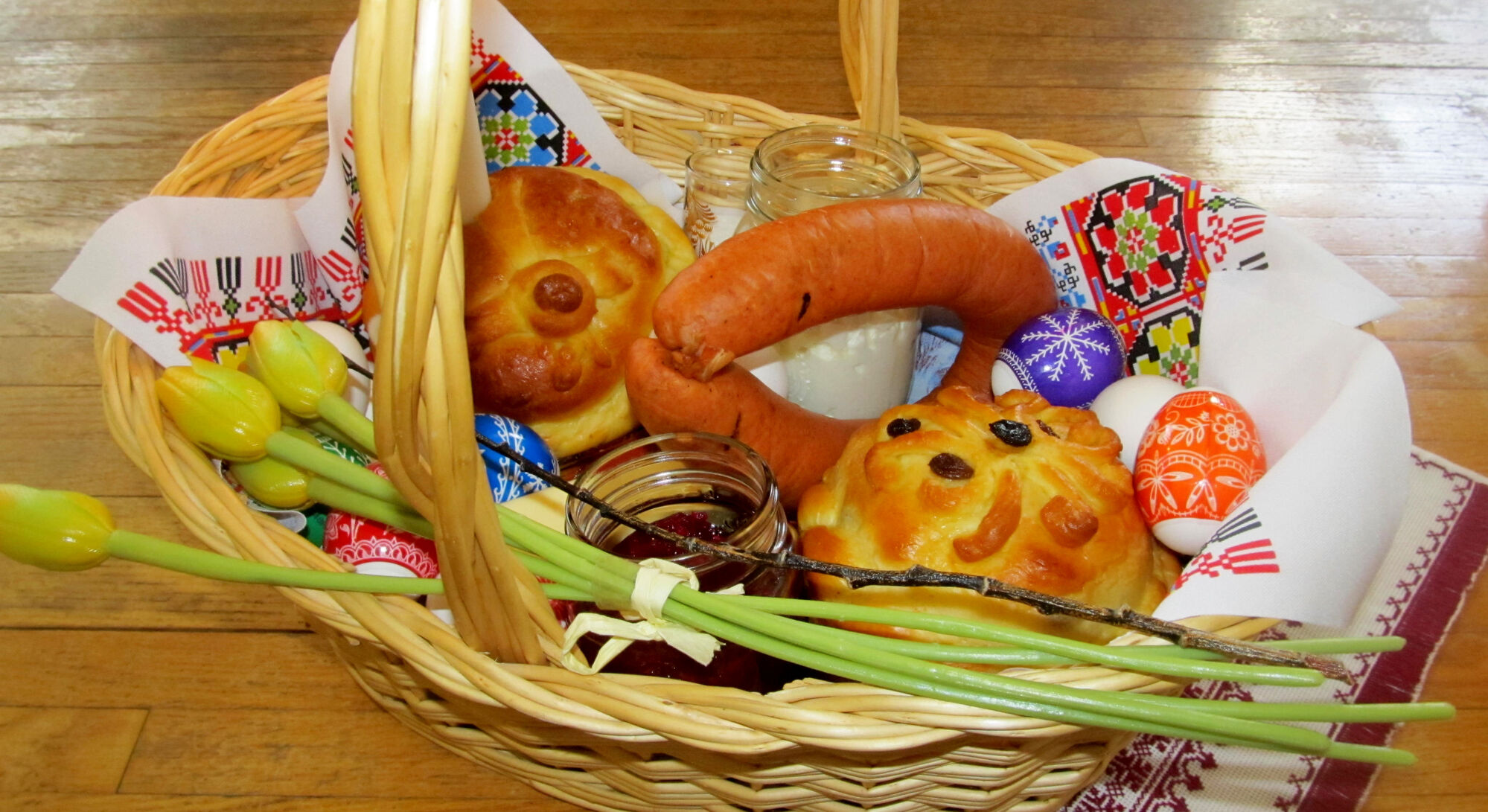 Explaining orthodox easter traditions winnipeg free press a traditional ukrainian easter basket is filled with items symbolizing christ spring and renewal negle Images