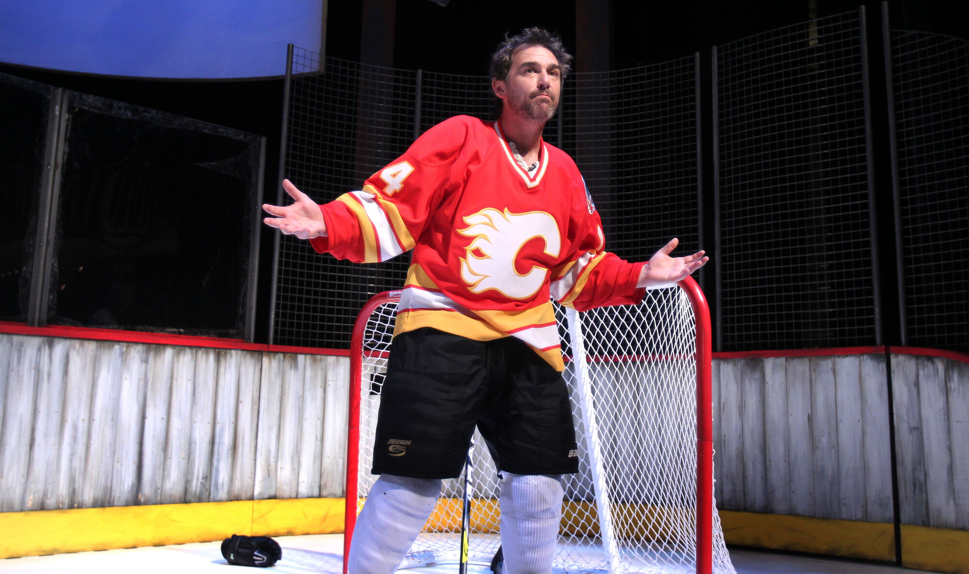 Shaun Smyth  from a scene from the play called Playing With Fire: The Theo Fleury Story. The play is set to open in Winnipeg next February, the Prairie Theatre Exchange announced Thursday.
