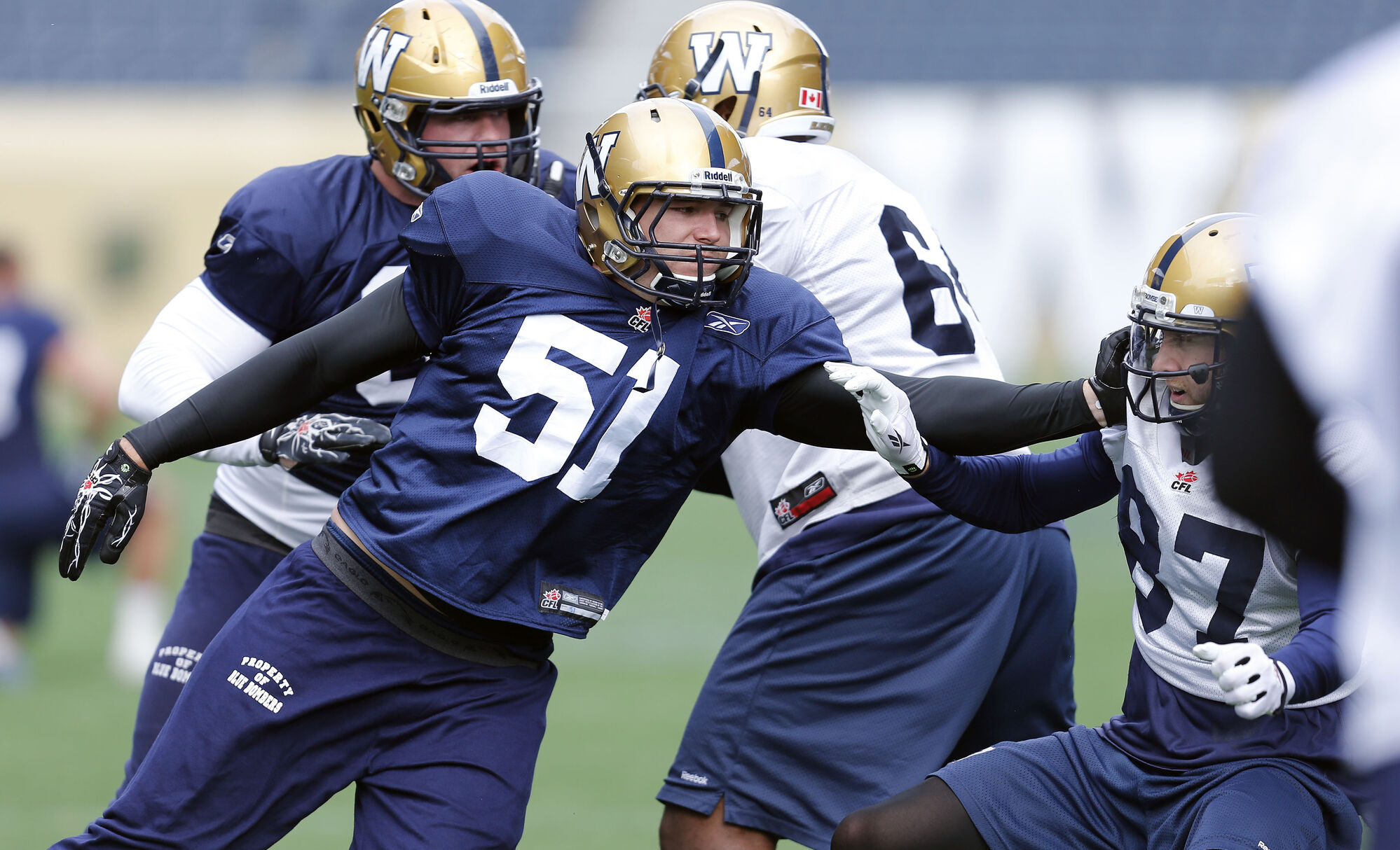 Jake Killeen (51) joined the Bombers at practice today.