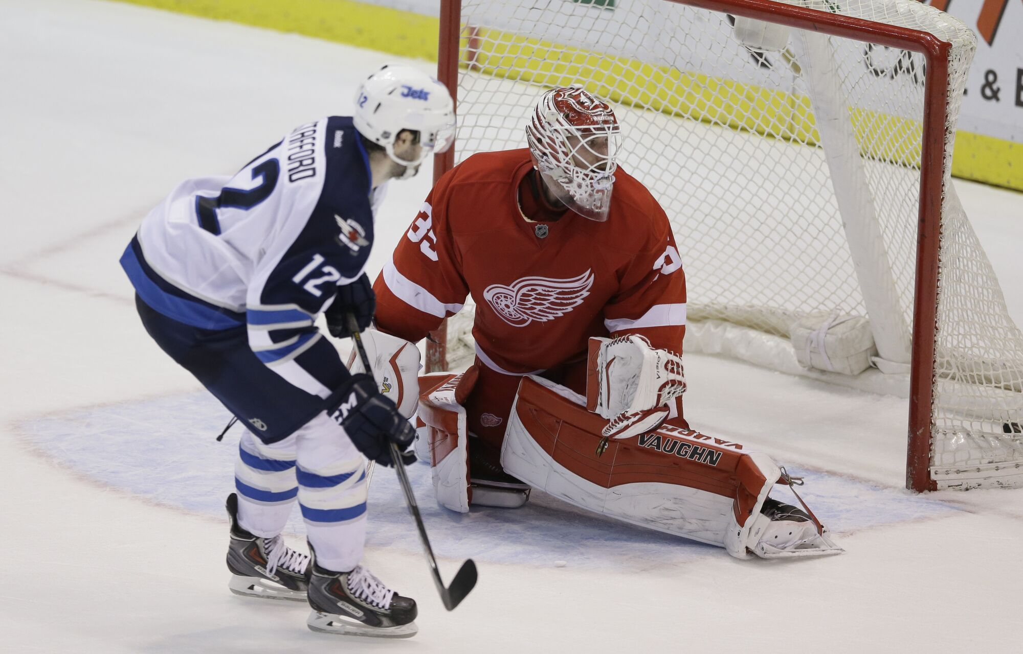 Newly acquired Drew Stafford notches the shootout winner as the Jets topped the Detroit Red Wings 5-4 in Detroit Saturday night.