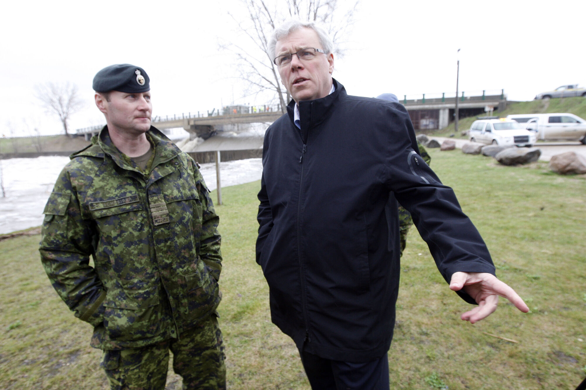 Former soldier Shane  Schreiber with Premier Greg Selinger in May 2011.