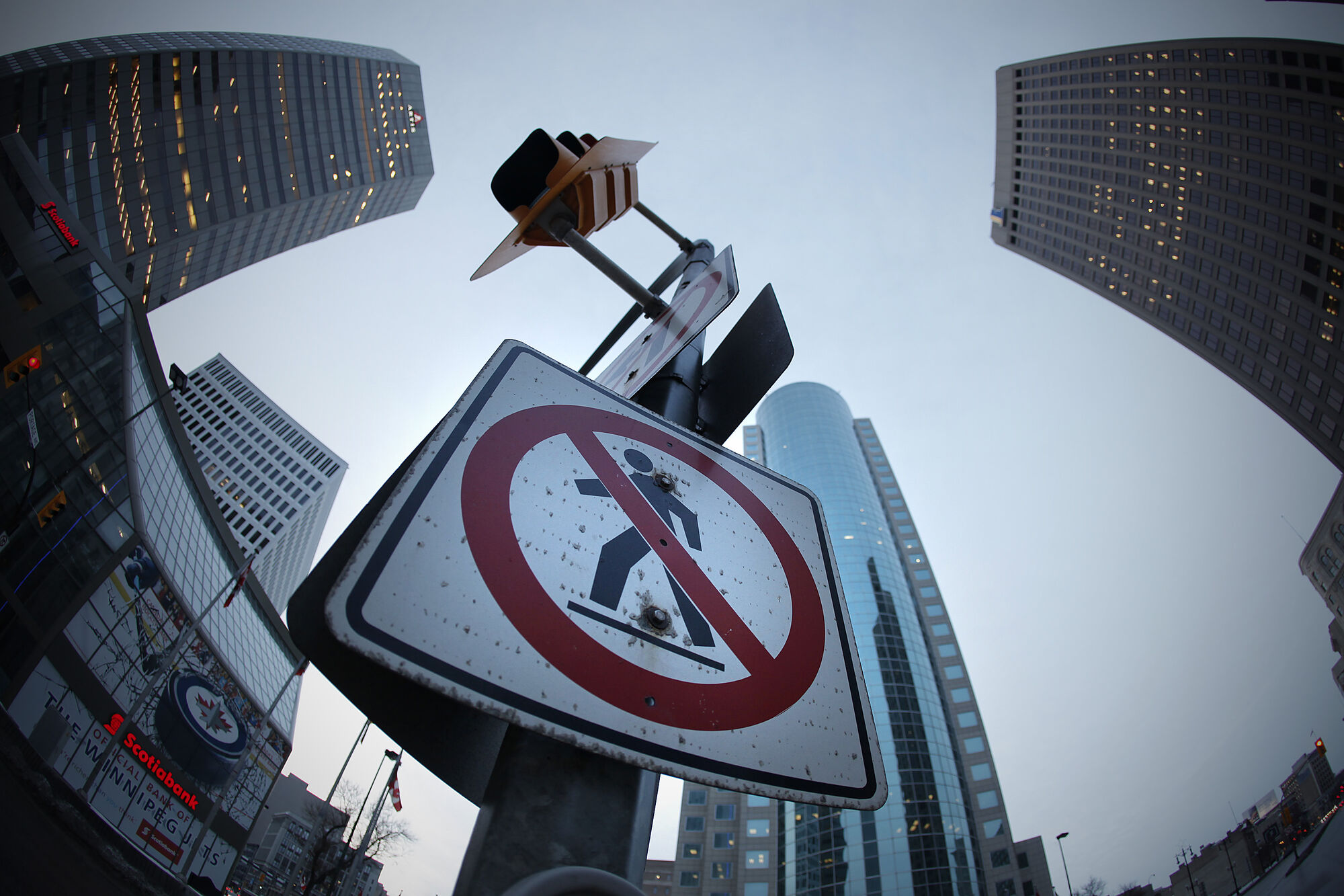 Portage and Main has been closed to street-level pedestrian traffic for decades.