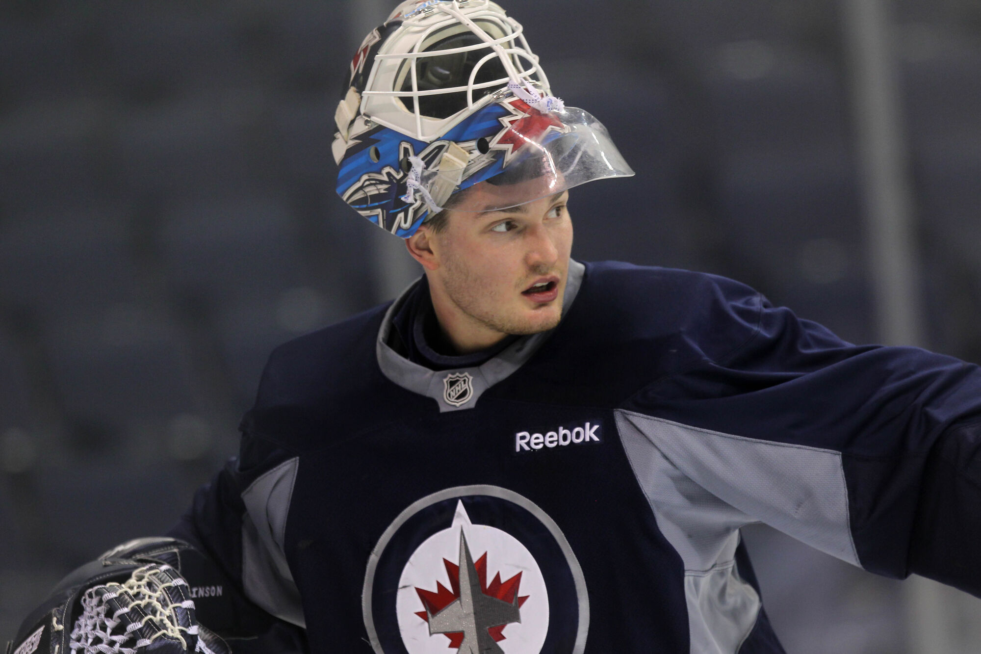 Goalie Michael Hutchinson has signed with the Florida Panthers.    Winnipeg Jets goalie #34 Michael Hutchinson at  practice at MTS Centre Wednesday.      Dec 7, 2016