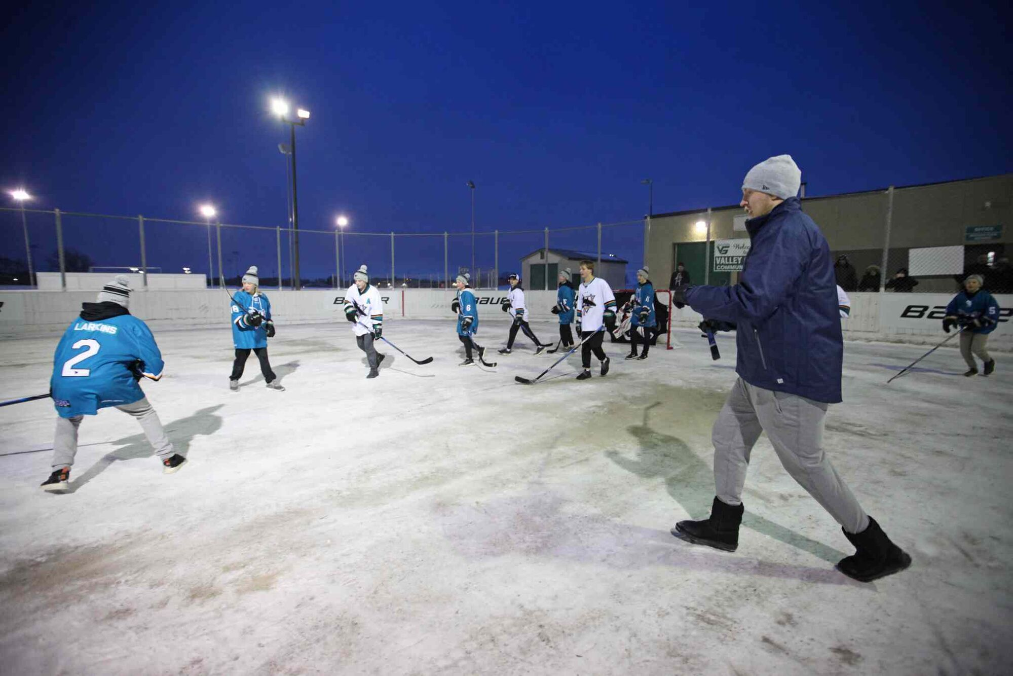 gallery laine hits the ice with young sharks winnipeg free press