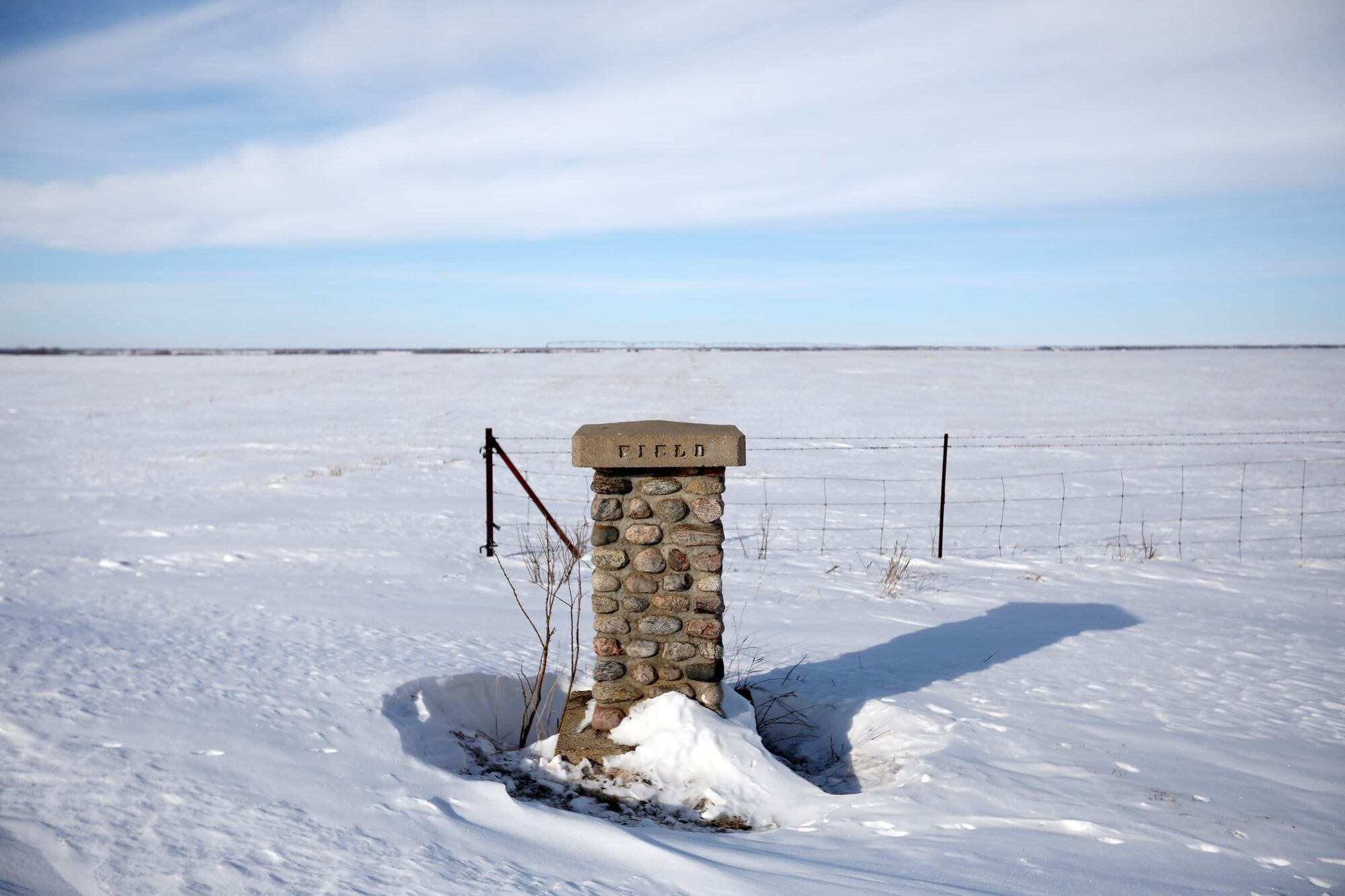A marker stands at the south end of the former CFB Rivers air force base property southwest of Rivers on Friday. (Tim Smith / The Brandon Sun)