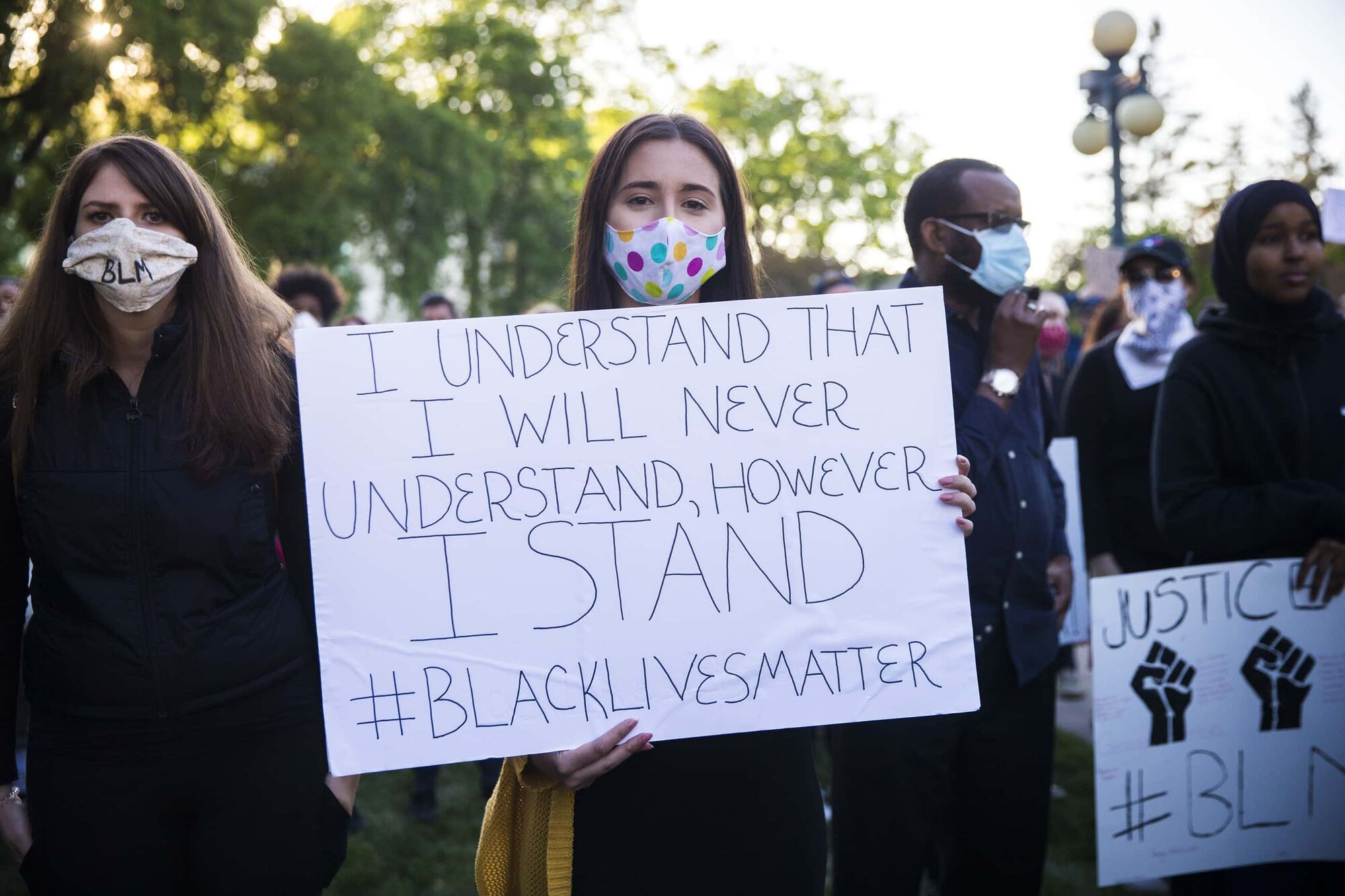 Protesters gather on the west side of the Manitoba Legislative Building for a rally in support of justice for black lives in Winnipeg on June 5. (Mikaela MacKenzie / Winnipeg Free Press files)
