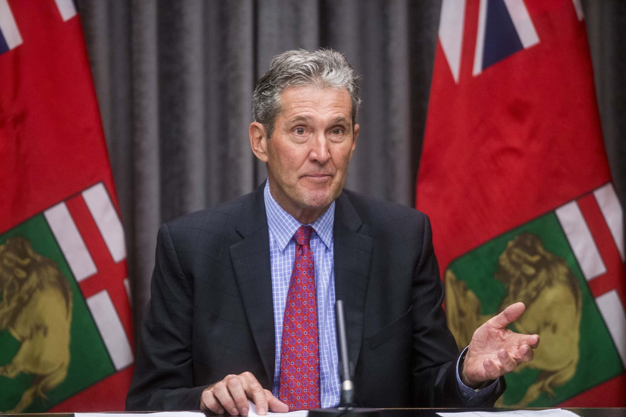 Premier Brian Pallister announced the Manitoba Job Restart program on Tuesday. The program will pay people $2,000 over six weeks to get back to work and stop collecting the Canadian Emergency Response Benefit. (Mikaela MacKenzie / Winnipeg Free Press)