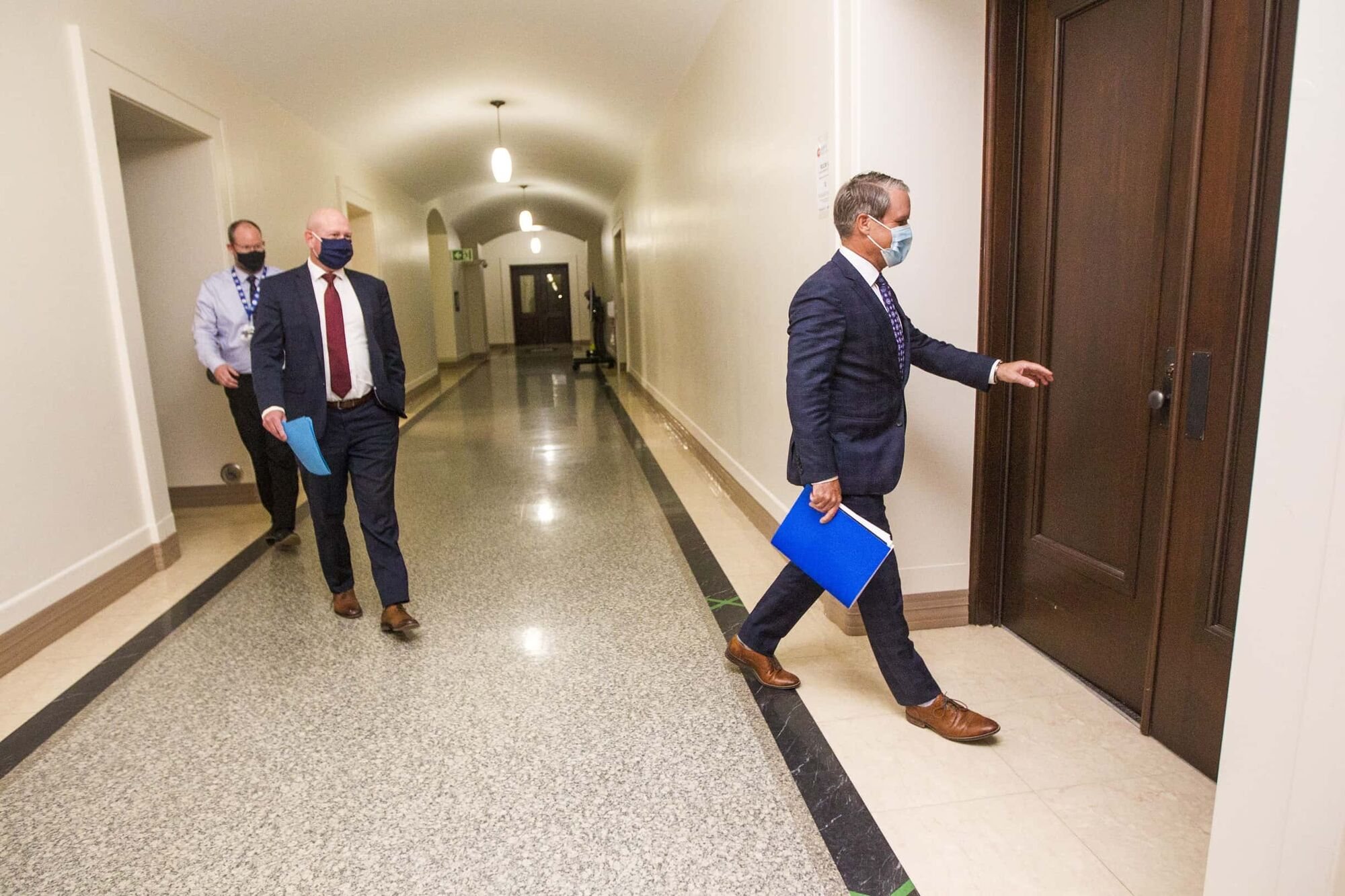 Health minister Cameron Friesen (right) has refused to apologize for criticizing hundreds of doctors who demanded a provincewide lockdown to get spiralling COVID-19 cases under control. (Mikaela MacKenzie / Winnipeg Free Press)