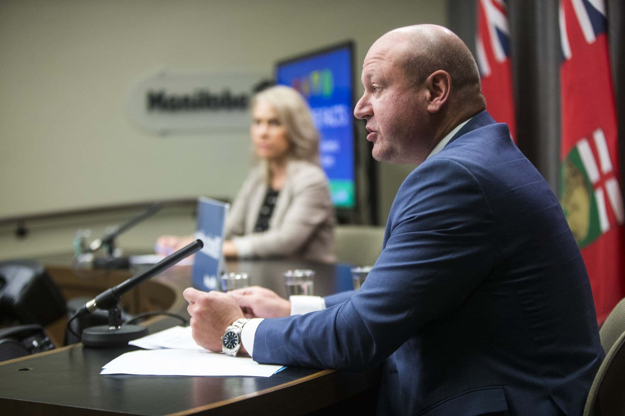 Dr. Brent Roussin, chief provincial public health officer, and Shared Health chief nursing officer Lanette Siragusa speak about the latest COVID-19 numbers on Monday. (Mikaela MacKenzie / Winnipeg Free Press)