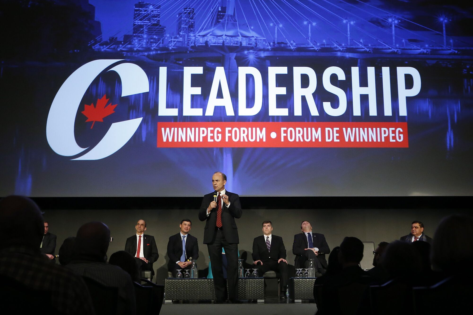 JOHN WOODS / THE CANADIAN PRESS Rick Peterson speaks at a Conservative Party of Canada leadership forum in Winnipeg, Thursday.