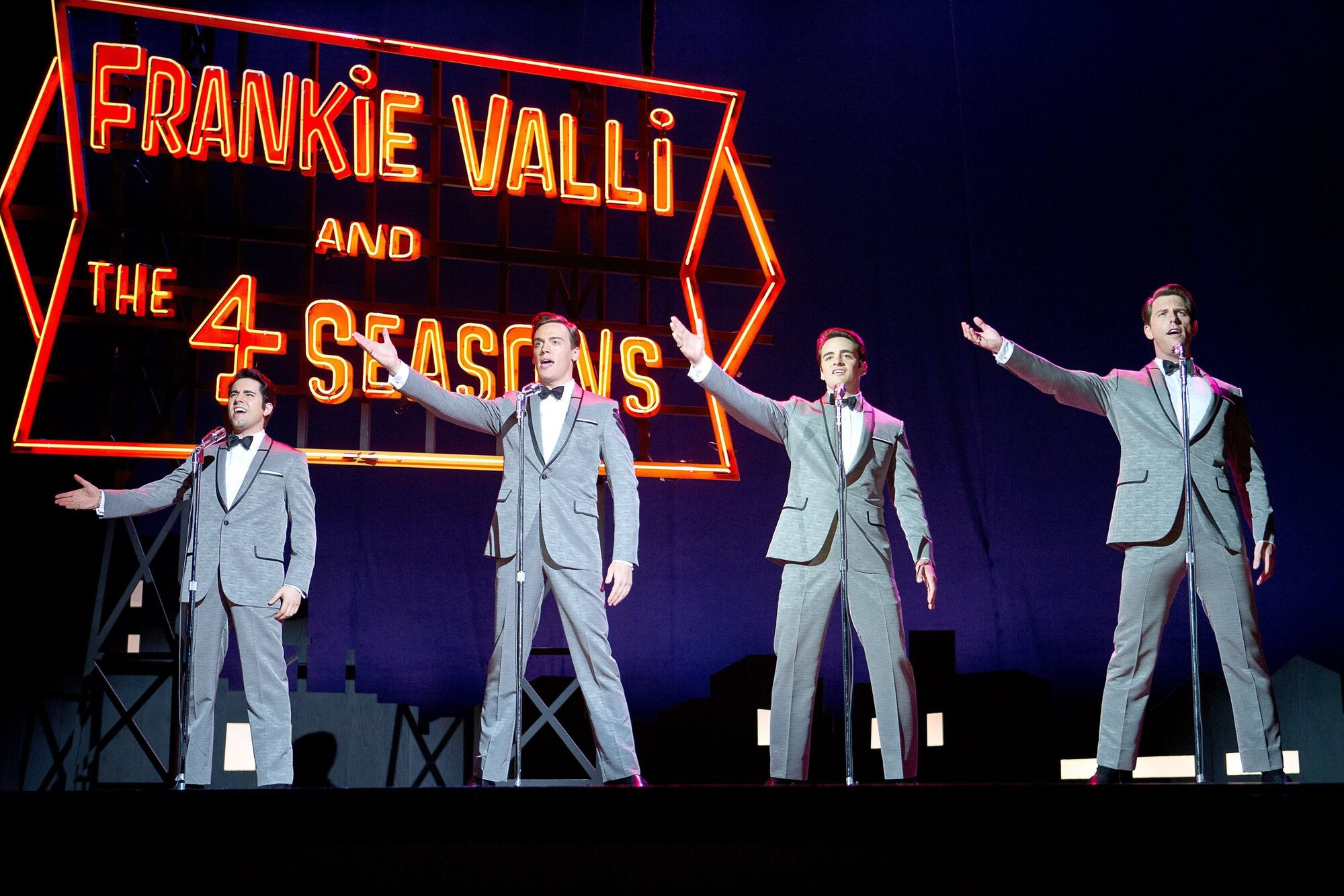 From left, John Lloyd Young as Frankie Valli, Erich Bergen as Bob Gaudio, Vincent Piazza as Tommy DeVito and Michael Lomenda as Nick Massi in Warner Bros. Pictures' musical