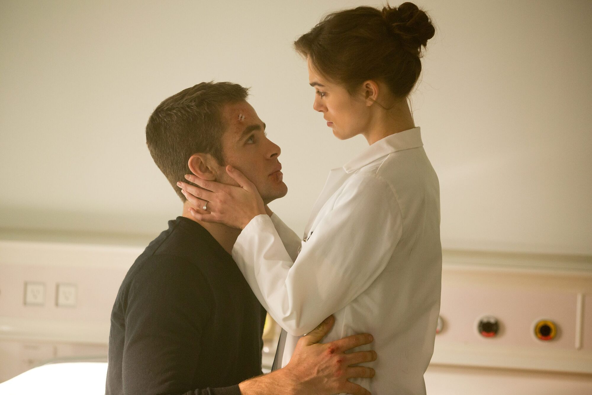 Keira Knightley, right, and Chris Pine in