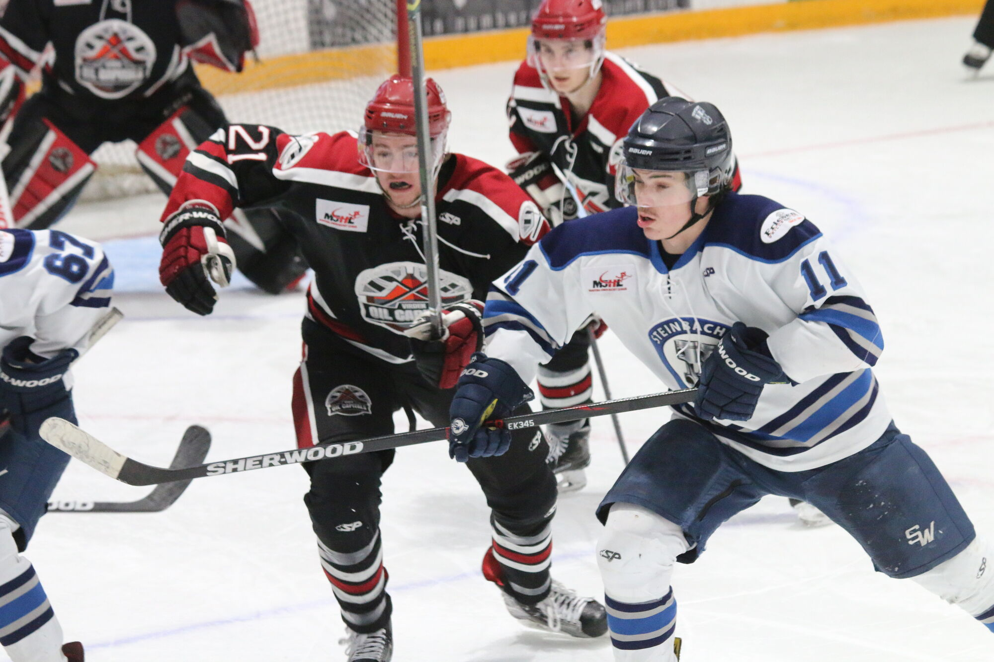 Austin Heidemann (#11) had a goal and an assist as the Steinbach Pistons blanked the Virden Oil Capitals 4-0 Monday night in Virden to knot the MJHL final series at two games apiece. Game five goes Thursday night in Steinbach.