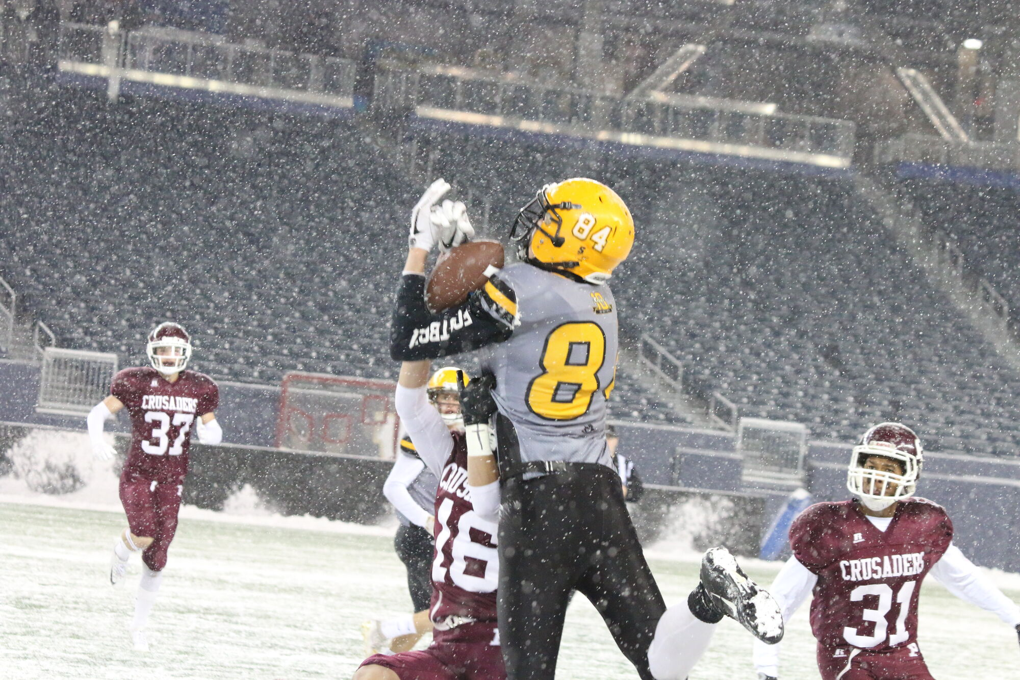 Jayden Martens, hauling down a pass from Sawyer Thiessen in the WHSFL final last fall, could be catching balls from Thiessen one day in a Bisons uniform.